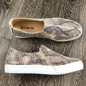 Restricted faux snake skin sneakers